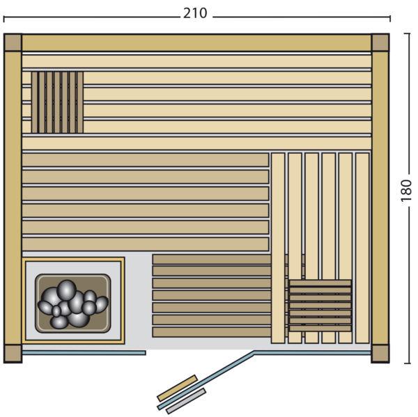 Sauna Panorama 180 - Grundriss