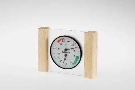 Klimamesser mit Glas/Holzrahmen in Fichte