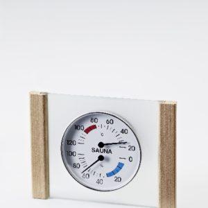 Klimamesser mit Glas/Holzrahmen in Zeder