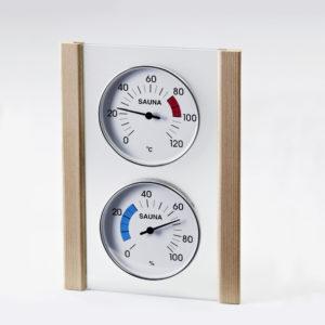Klimamessstation mit Glas/Holzrahmen in Zeder