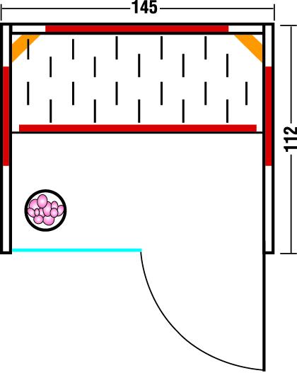 Infrarotkabine TrioSol Glas 145 - Grundriss