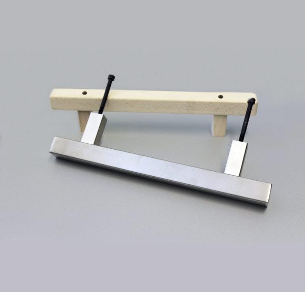 Türgriff-Set Edelstahl und Buche, quadratisch