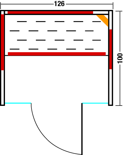 Infrarotkabine Vario Glas 125 - Grundriss